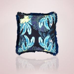 Gypsy Palm Cushion - 45cm Aqua Pink