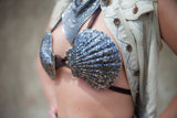 Midnight Black Real Scallop Shell Mermaid Bra Small