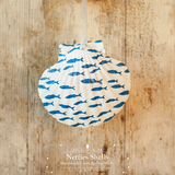 Blue and White Fish Silhouette Pattern