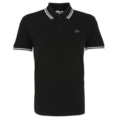 Classic Tipped Polo Shirt (Black/White)