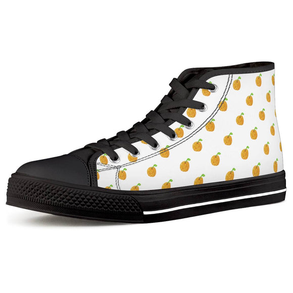 Orange Cartoon -  Drawing Pattern Design Black High Top Canvas Shoes - Roseandjoy