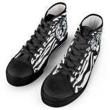 Stripes of Winter - Black High Top Canvas Shoes - Roseandjoy
