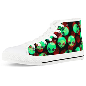 Aliens - White High Top Canvas Shoes - Roseandjoy