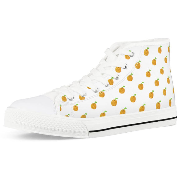 Orange Cartoon -  Drawing Pattern Design White High Top Canvas Shoes - Roseandjoy