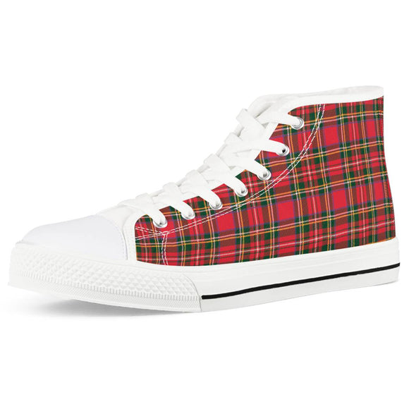 Red Plaid - White High Top Canvas Shoes - Roseandjoy