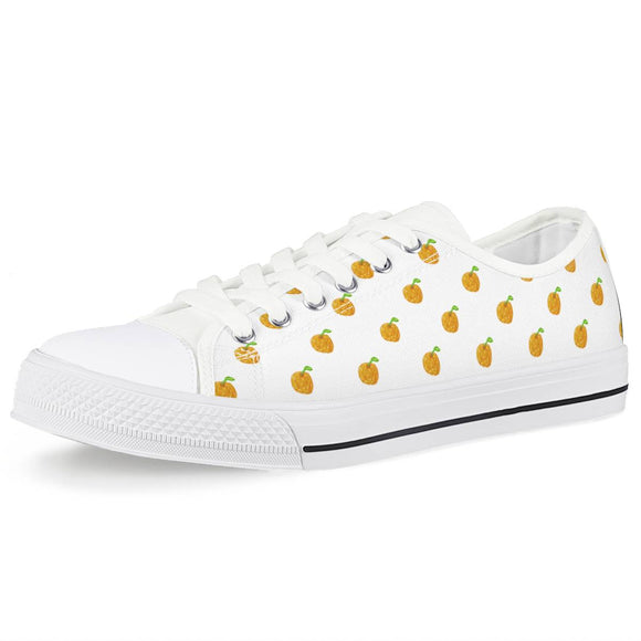 Orange Cartoon -  Drawing Pattern Design White Low Top Canvas Shoes - Roseandjoy