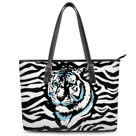 Stripes of Winter - Leather Tote Bags - Roseandjoy