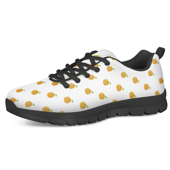 Orange Cartoon -  Drawing Pattern Design Black Running Shoes - Roseandjoy