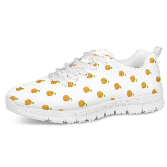 Orange Cartoon -  Drawing Pattern Design White Running Shoes - Roseandjoy