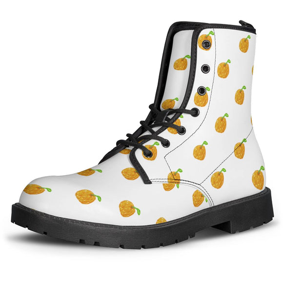 Orange Cartoon -  Drawing Pattern Design Leather Boots - Roseandjoy