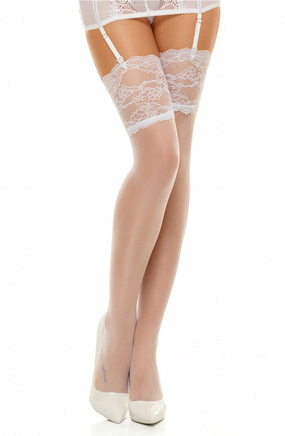White romance hold up stockings