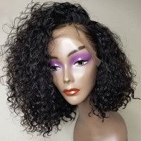 Pre-Plucked Brazilian Virgin Hair 13''x4'' Lace Front natural Curly Bob Wig