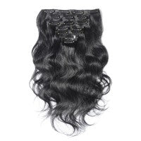 16 to 26 Inch #1 Jet Black 10 pieces Body Wave Clip In Human Hair Extensions - Roseandjoy