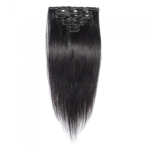 16 to 26 Inch #1B Natural Black 10 pieces Straight Clip In Human Hair Extensions - Roseandjoy