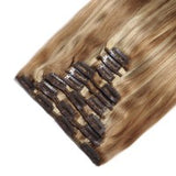 16 to 26 Inch #27/613 10 pieces Straight Clip In Human Hair Extensions - Roseandjoy