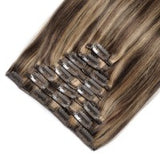 16 to 26 Inch #4/27 10 pieces Straight Clip In Human Hair Extensions - Roseandjoy