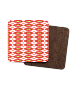 Tomatoe print Single Hardboard Coaster - Roseandjoy