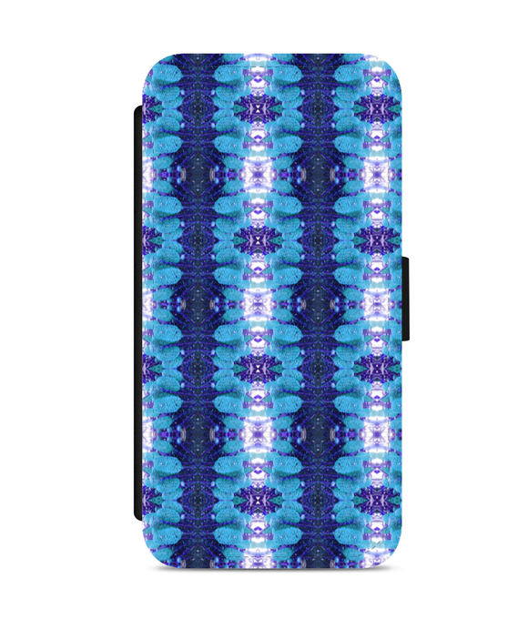 iPhone 6/6s Faux Leather Flip Case Kew spiral flower pattern blue 3 - Roseandjoy
