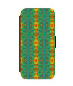 iPhone 5c Faux Leather Flip Case Spiral flower pattern orange and light blue - Roseandjoy