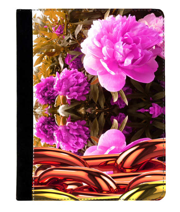 iPad 2/3/4 Faux Leather Flip Case Garden flower print with gold chains - Roseandjoy