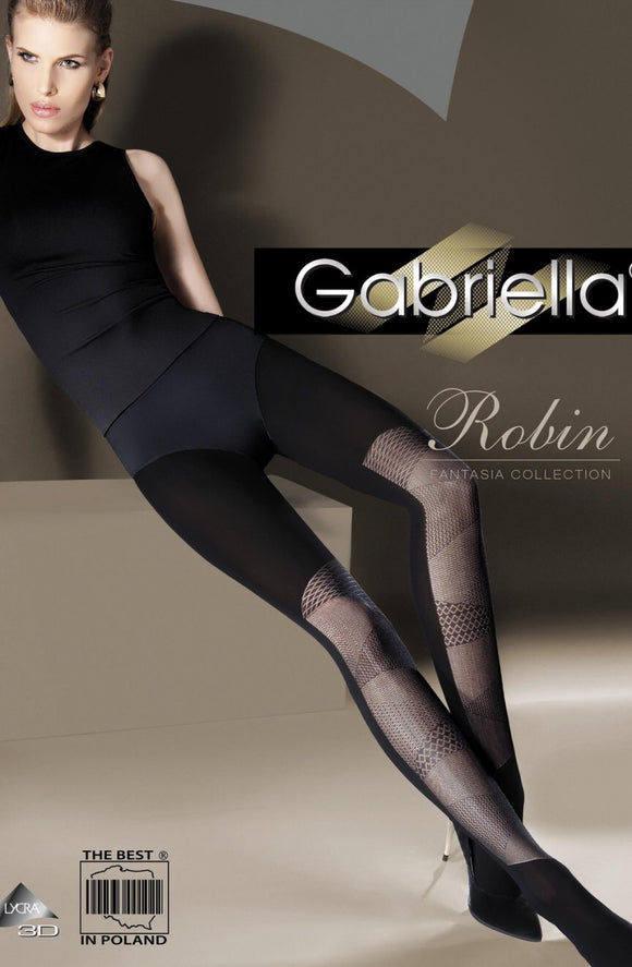 Gabriella ' Fantasia Robin' Lycra black tights - Roseandjoy