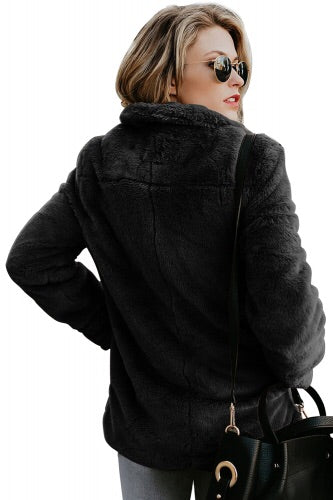 Black Faux fur winter Coat - Roseandjoy