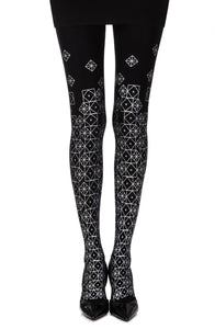 'Kaleidoscope' silver print on black tights - Roseandjoy