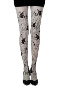 'My little Bunny' printed grey tights - Roseandjoy