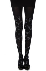 'Taking off' black printed tights - Roseandjoy