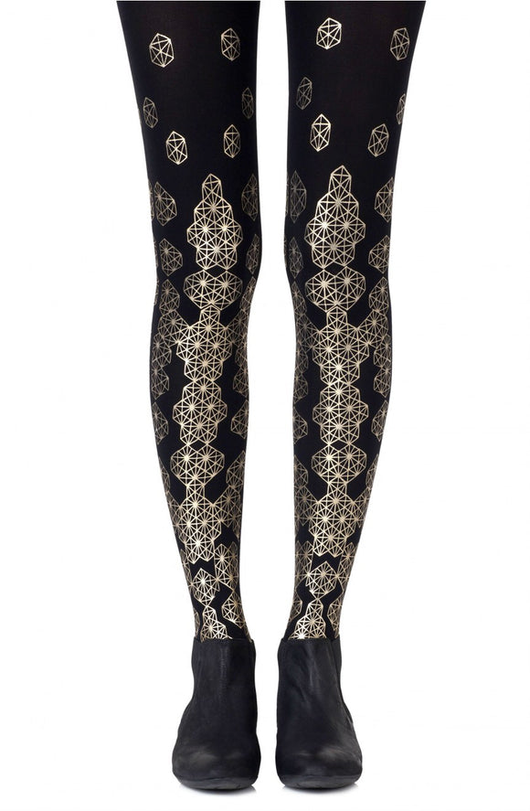 'Queen bee' gold printed tights - Roseandjoy