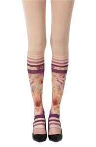 'Flower garden by the beach' printed powder tights - Roseandjoy