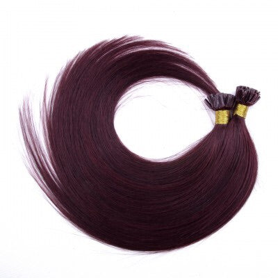 16-24 Inch Straight Nail Tip Remy Hair Extensions #99J - Roseandjoy