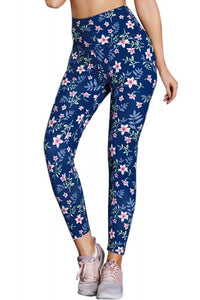 High Waist Floral Print Compression Womens Leggings - Roseandjoy