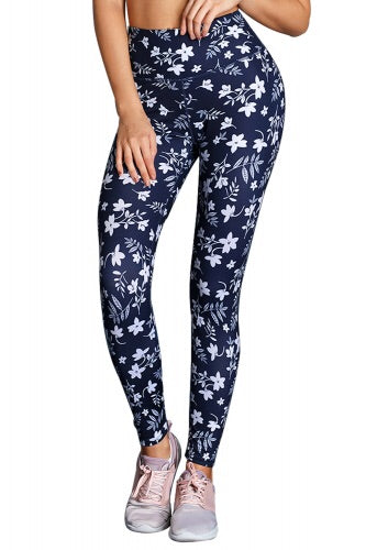 White Floral High Waist Yoga Leggings in Navy - Roseandjoy