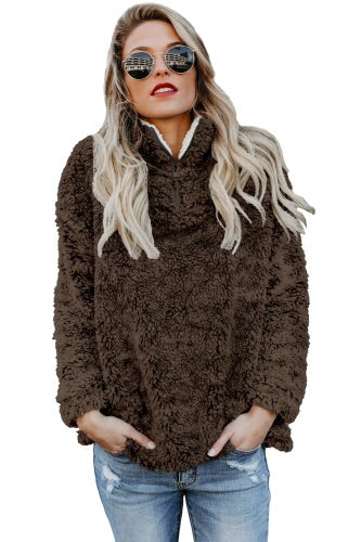 Coffee brown Zipper Fleece Pullover Coat - Roseandjoy
