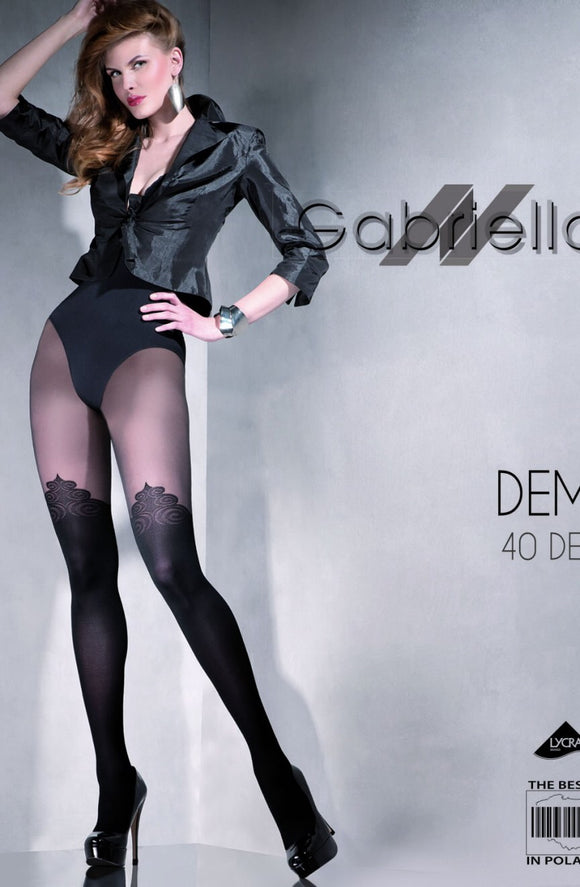 Gabriella 'Demi' 40 denier black Lycra tights - Roseandjoy