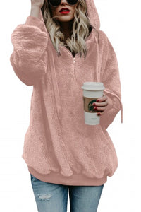 Dusty pink Warm Fleece Pullover Hoodie - Roseandjoy
