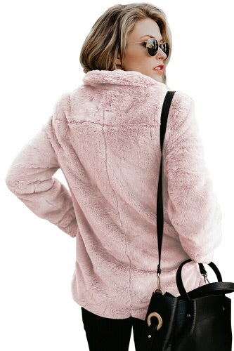 Blush pink Pocket Style Faux fur Winter Coat - Roseandjoy