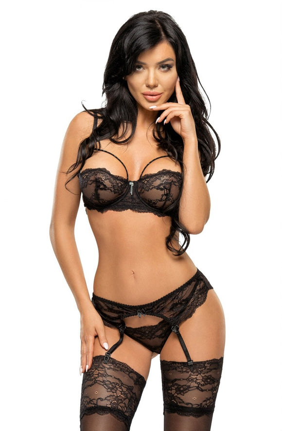 3 piece Black lace lingerie set - Roseandjoy