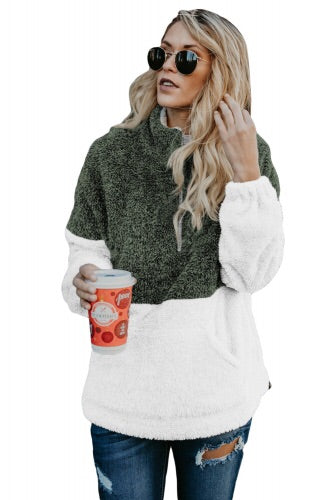 Green and white Zip Neck Oversized Fluffy Fleece Pullover - Roseandjoy