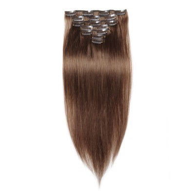 16 to 26 Inch #8 Light Brown 10 pieces Straight Clip In Human Hair Extensions - Roseandjoy