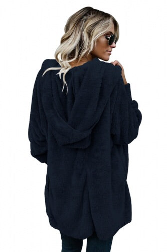 Blue Soft Fleece Hooded Open Front Coat - Roseandjoy