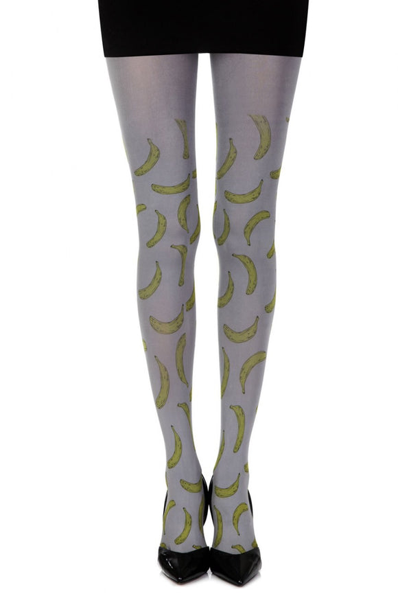 'Going bananas' grey printed tights - Roseandjoy