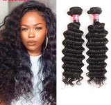 10-30 Inches Deep Curly Virgin Malaysian Hair colour 1B, Natural Black - Roseandjoy