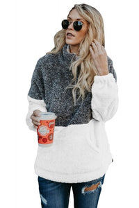 Charcoal and White Zip Neck Oversize Fluffy Fleece Pullover - Roseandjoy