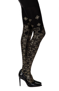 'Kaleidoscope' gold print on black tights - Roseandjoy