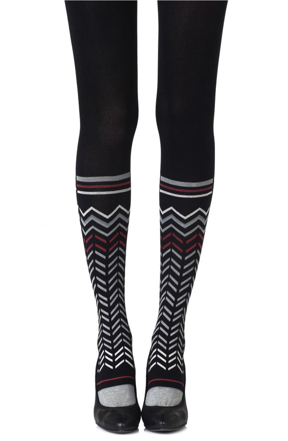 Zig zag walk printed black tights