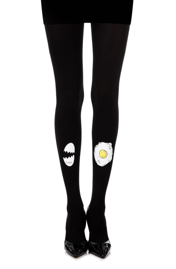 'Sunny side up' egg print black tights - Roseandjoy