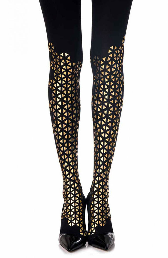 'The beat goes on' gold print black tights - Roseandjoy
