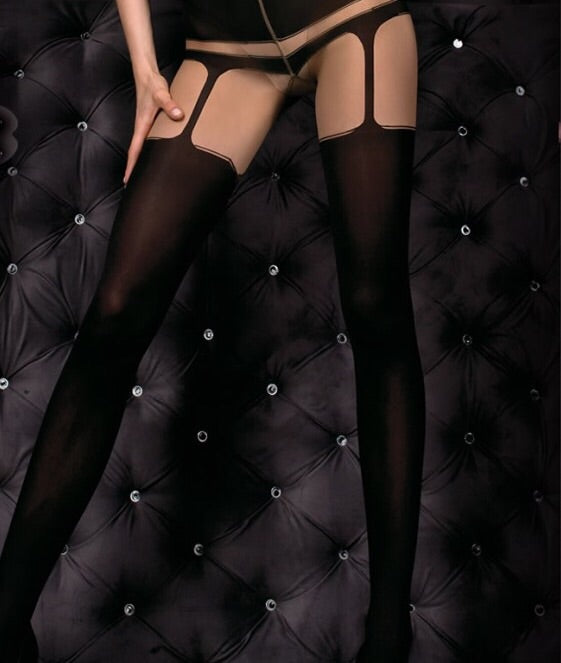 Ballerina faux-suspender skin and back tights - Roseandjoy